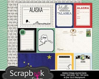 Tarjetas de diario de Alaska. Scrapbooking digital. Vida del proyecto. Descarga instantánea.