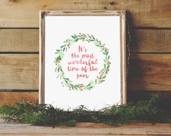 It's the Most Wonderful Time of the Year, Christmas Sign, Rustic Decor, Christmas Wreath, Christmas Gift, Christmas printable, Holiday Print