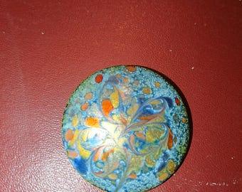 Vintage INGA copper brooch