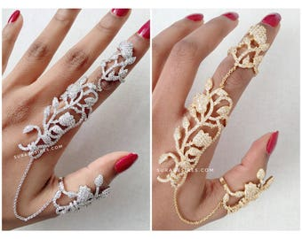 Full Finger Ring, Knuckle Ring, Ring Harness, Statement Ring, Crystal Ring - One Size fits all | Suradesires