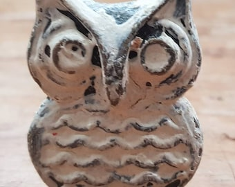 Antique White Distressed Metal Owl Drawer Knob  -  Metal Upcycling Project