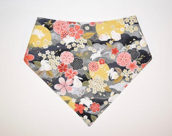 Bunny Moon/Floral, Reversible Dog Bandana, Snap Closure Bandana