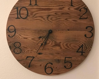 """Rustic Pallet Wood Clock - 16"""" Sample - clock will be made on order"""