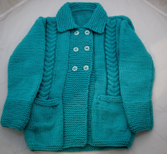Handknitted Turqoise Cabled Cardigan/Jacket to fit 2 Year Old.