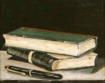 Books acrylic painting 7.87 inch x 7.87 inch,original still life