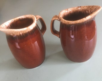 Hull Pottery Brown Drip 8 oz Creamer - Two Available