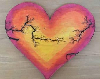Wood art painted heart