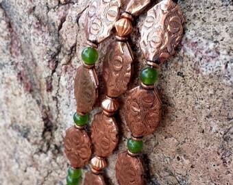 Copper and jade three-strand bracelet
