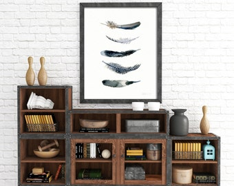 Watercolor art print  - feather art print from original watercolor art - 5 Bird feathers - giclee print - feather watercolor - feather art