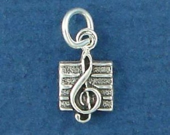 TREBLE Clef Charm .925 Sterling Silver Music Symbol MINIATURE Small - elp624