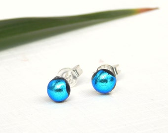 Tiny Sky Blue Dichroic Glass Stud Earrings - Fused Glass Jewelry - Blue Glass Post Earrings on 925 Sterling Silver
