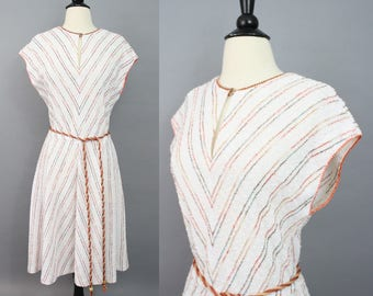 vintage 70s dress / 1970s dress / boho dress / chevron stripe dress / boucle knit day dress / cap sleeve sweater dress / fall dress / large
