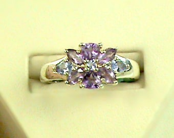 Amethyst & Tanzanite 925 Flower Diamond accent Ring, Purple Amethyst n Blue Tanzanite Starburst Sterling Ring, Spring Floral 925 Gem Ring
