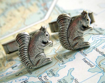 Squirrel Cufflinks Silver Plated Popular Vintage Inspired Tiny Size Victorian Woodland Animals Men's Cuff Links