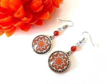 Cabochon earrings with a mandala indian red (orange) swarovski crystal bead