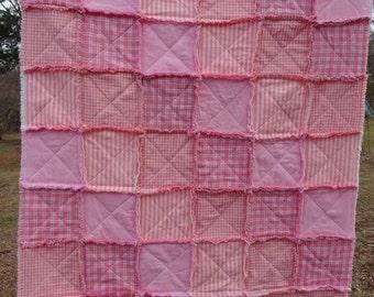 Rag Quilt, Patchwork Rag Quilt, Homespun Rag Quilt, Sofa Throw, Lap Blanket, Pink Rag Quilt, Primitive Rag Quilt, Girl Rag Quilt, Rag Throw