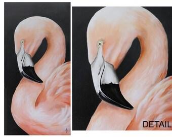 Pink Flamingo painting - Chilean flamingo wall art canvas - tropical bird - pretty in pink art - canvas painting - florida bird art