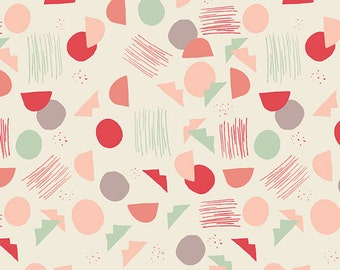 Bright Fun Geometric - Organic Cotton - Hello Ollie By Bonnie Christine for Art Gallery - Village Tundra Sprout -  Fabric By the Half Yard