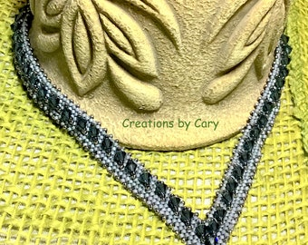 PDF only. Denim Delight woven beaded V-neck necklace pattern tutorial w step by step digital line enhanced photos