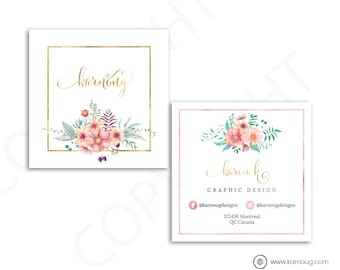 Floral Square Business Card Design Watercolor Business Cards Custom Business Cards Printable Business Cards Gold Printable Cards