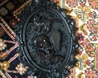 Skeleton animal magnet set | goth animals | skull magnets | skeletons | glitter | coffin magnet