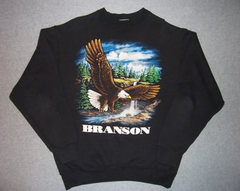 Vintage 80s 90s Fly Like An Eagle Branson Black Sweatshirt 1980s 1990s Tacky Gaudy Ugly Christmas Sweater Party X-Mas S Small M Medium