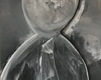 Hourglass 16x20 Balck White Abstract