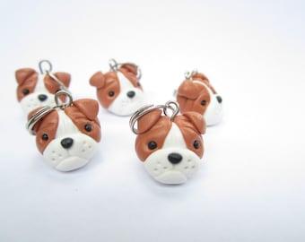 Bulldog Stitch Markers, dog polymer clay, animal bulldog charm, dog charm, dog gift, knitting accessories, knit, knitters gift, cute charm