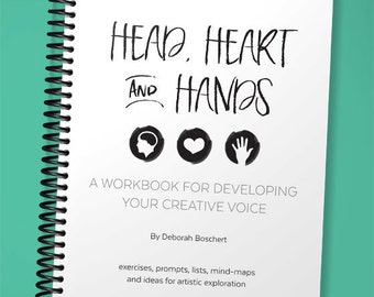 Head, Heart and Hands: Developing Your Creative Voice Artist Workbook, spiral bound hard copy, exercises, to do list, prompts, lessons