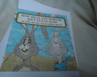 Vintage 1987 How Billy Joe Bobtail Met Texas Slim or The Great Jackrabbit Race Children's Book, collectable