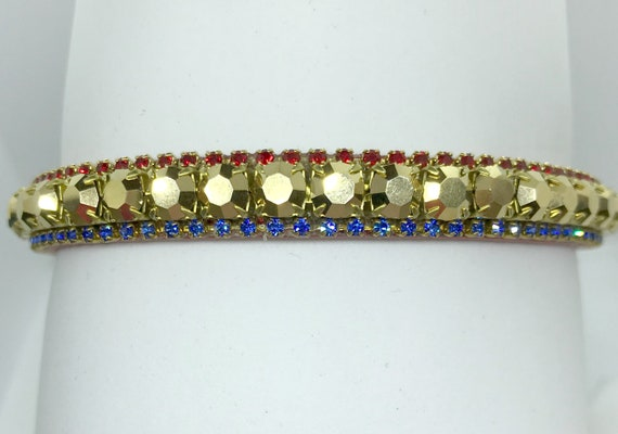 Red, Gold, & Blue Superman Style Bling Rhinestone Dog Cat Pet Collar + JuJu Bean Bandanna Halloween Costume  USA