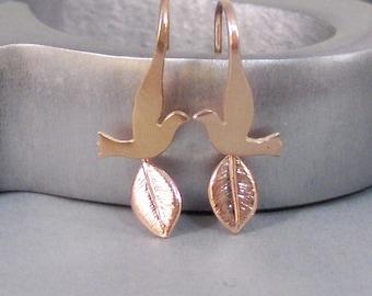 Birdies Leaves,Earrings,Rose Gold Earrings,Rose Gold,Leaf Earrings,Bird Earring,Rose Gold Bird,,Gold Leaf,Gold Earring,by SeaMaidenJewelry