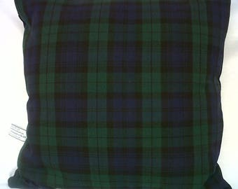 Navy and Green Blackwatch Tartan Cushion Cover Various Sizes Available
