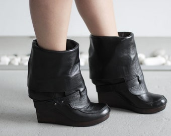 NIN-LIL - Black - FREE Shipping - Handmade Leather Boots with Winter Sale Price