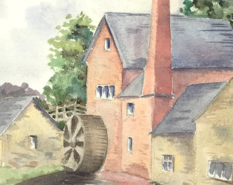 Vintage Watercolour Painting, Hand Painted, Small Painting, Traditional Outdoors, Watermill View, Amateur Watercolor, Decorative Painting