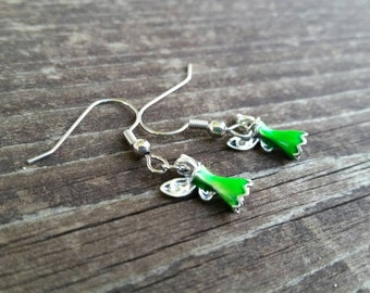 Green Princess Fairy Dress Charm Earrings - 3 dimensional Ball Gown Charms - Fashion Jewelry Accessories - Fairie Wings