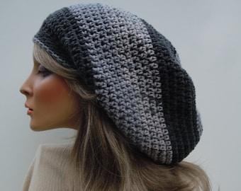 Dreadlock Tam, Rasta Tam, Hippie Hat, Bag Hat, Black Gray Rasta, Mixed Gray Cap, Rasta Hat, Slate Gray Tam, Charcoal Gray hat