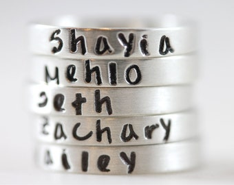 Mother's Day gift, Name ring, custom hand stamped, mother gift, pure silver, personalized ring, stacking rings, solid sterling silver