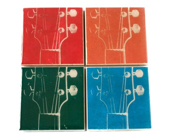 Guitar Coaster Set (4 Stone Coasters, Green, Blue, Orange, Red) Musical Gift, Music Home Decor