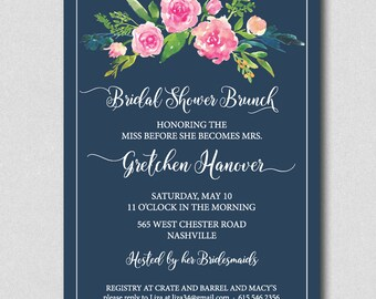 Watercolor Roses Bridal Shower Invitation, Floral Bridal shower, Watercolor Bridal Shower, Bridal Brunch Invite, Bridal Luncheon, Navy, PInk