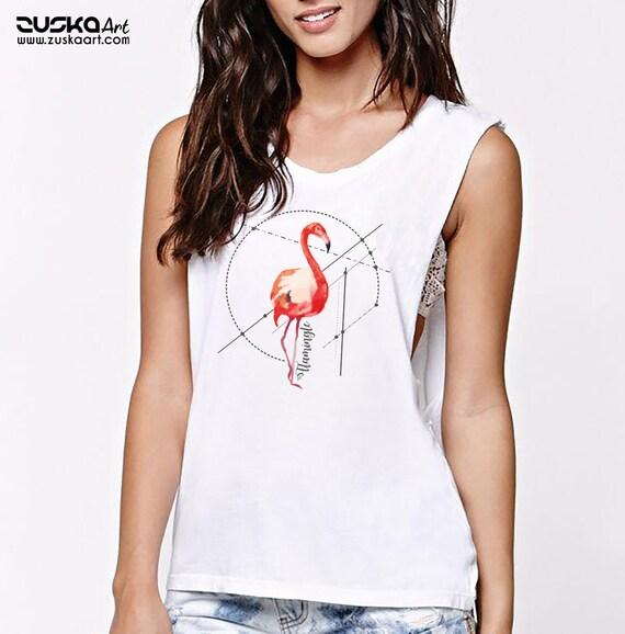 Let's Flamingle | Women Sexy & Flowy Muscle Tank Top | Graphic Tank | Flamingo Art | Personalized Tank | Party Tank | ZuskaArt