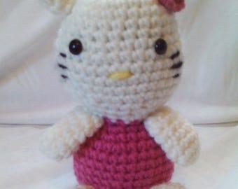 Crochet cat stuffed animal - pink and white