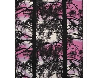 Stoff weiß schwarz rosa Bäume Vallila Kelohonka Cotton Fabric House Siliconbeschichtung Fabric Scandinavian Design skandinavische Textil