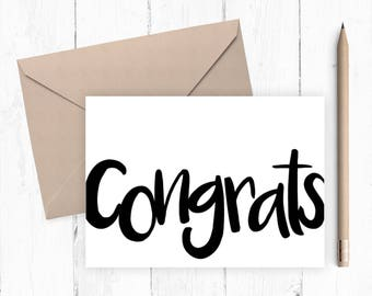Congrats Greeting Card - A blank congrats 5x7 greeting card