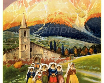 Vintage Abruzzo Italy Travel Poster Print