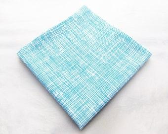 Men's Pocket Square - Aqua Crosshatch