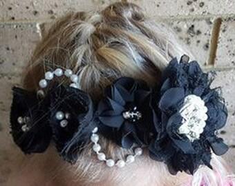 Black Lace Flower Wedding Headband, Headpiece, Bridal Headpiece, Gothic Headband, Races Fascinator, Gothic Headpiece