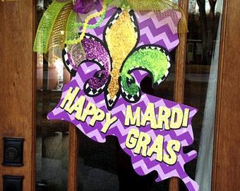 Mardi Gras Door Decoration Choose your own state Happy Mardi Gras Personalized Door Decor  laissez faire bon temps rouler