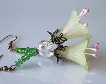Lucite Flower Earrings Yellow Lily Easter Flowers Holiday Jewelry Faceted Crystal Floral Earrings Victorian Dangle