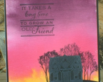 Silhouetted House and Trees Friendship Birthday Card